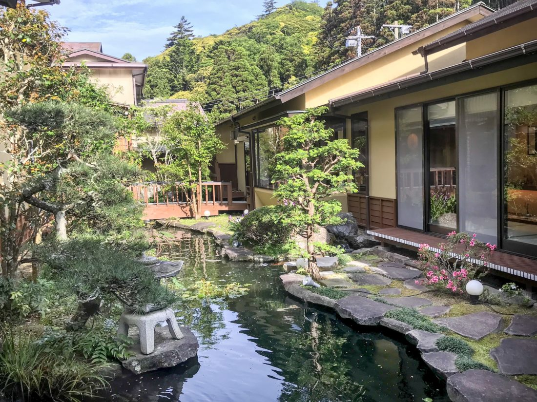japan travel tips ryokan garden and pond