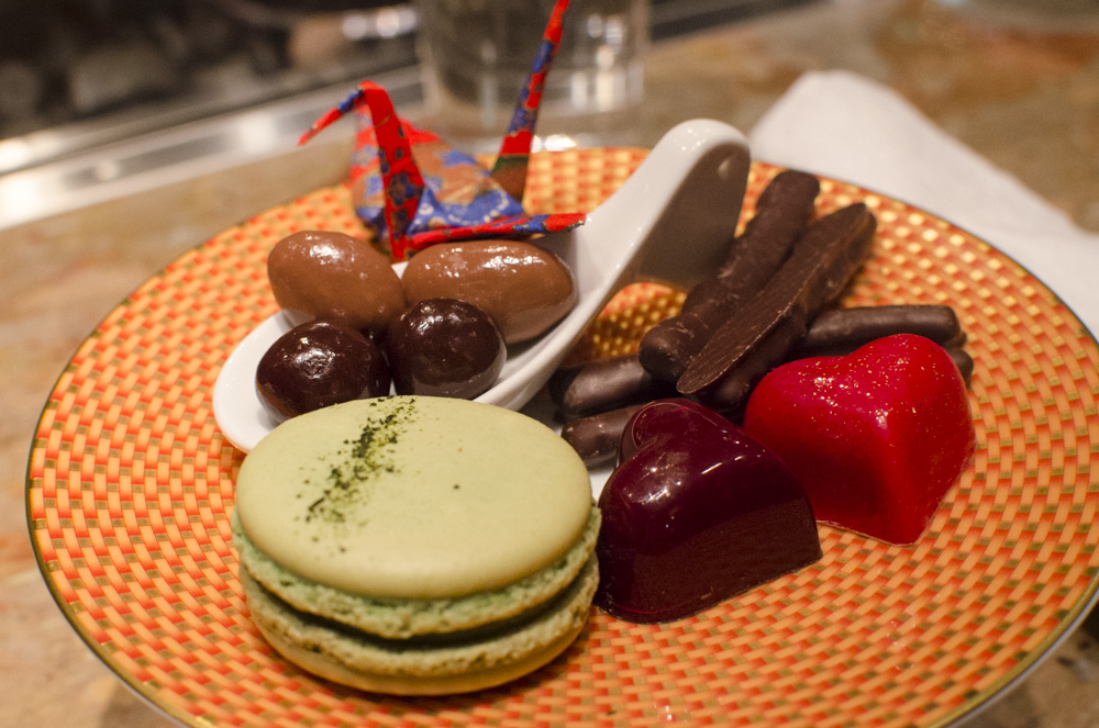 tapas molecular bar chocolates and macarons with origami crane